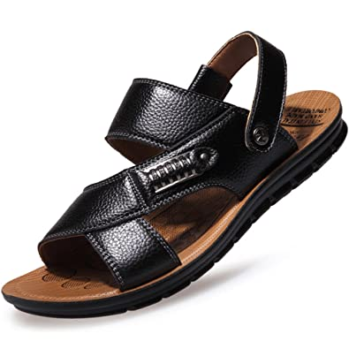 368fa458c7dc9 CUSTOME Men s Beach Shoes Leisure Pull on Sandals Leather Slipper ...