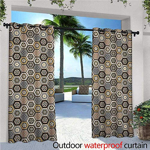 Floral Patio Curtains Victorian Damask Baroque Hexagon Rococo Interlocking Abstract Design Outdoor Curtain for Patio,Outdoor Patio Curtains W72 x L108 Pale Coffee Tan Warm Taupe ()