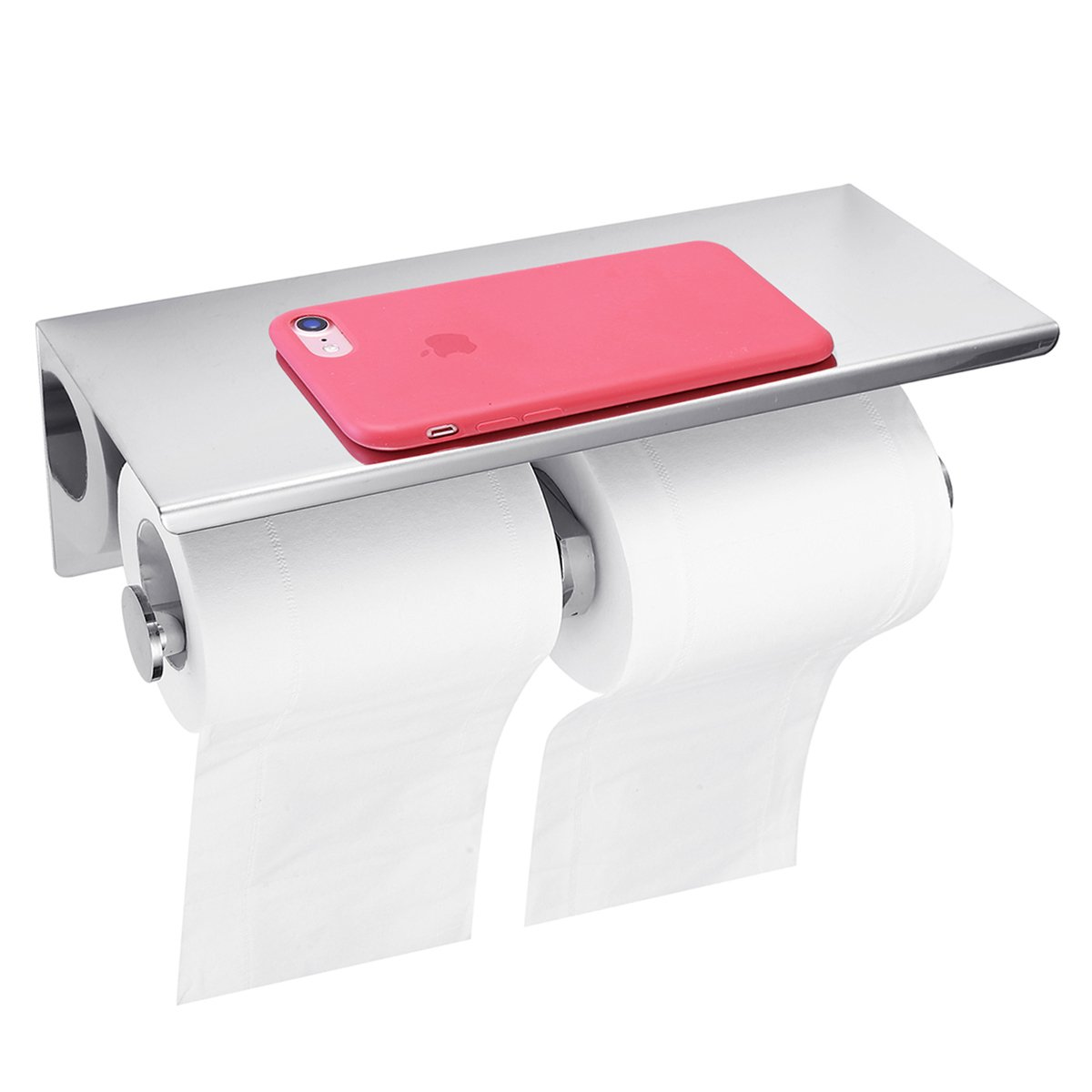 GEMITTO Bathroom Double Tissue Roll Holder SUS304 Stainless Steel Toilet Paper Holder with Mobile Phone Storage Shelf Wall Mounted