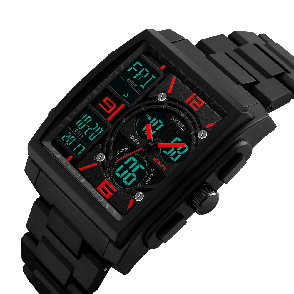 reloj digital de doble horario analógicas de los hombres muestran negocio único caucho de silicona con estilo wristwach banda: Amazon.es: Relojes