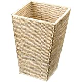 DWBA Malacca Square Wide Wastebasket Trash Can for Bathroom, Kitchen - Rattan (Light Rattan)