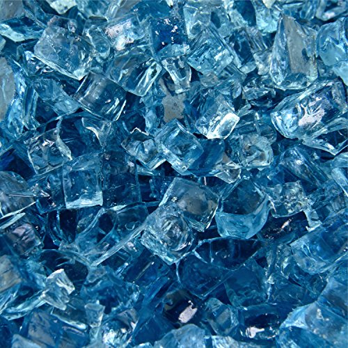 Blue Fire Glass for Indoor and Outdoor Fire Pits or Fireplaces | 10 Pounds | Harbor Mist Original Fire Glass, 1/4 Inch