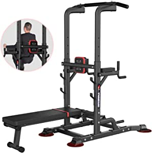 aiyu Multifunction Power Tower with Sit Up Bench, Adjustable Height Pull Up Bars Heavy Duty Dip Station Fitness Equipment for Home Gym Supports to 1100 Lbs, Push Up Chin Up Bars