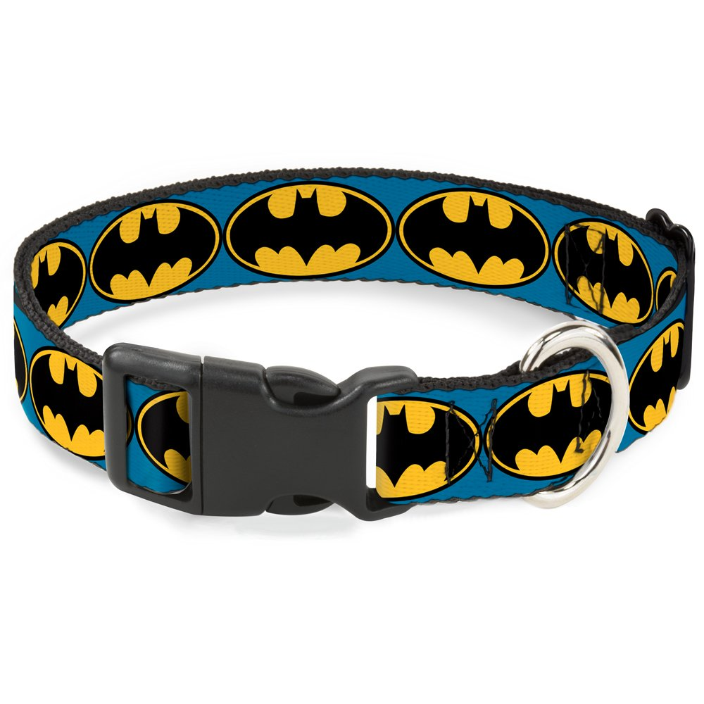 Buckle-Down Bat Signal 3 Blue/Black/Yellow Plastic Clip Collar, Narrow Medium/7-13'' by Buckle-Down