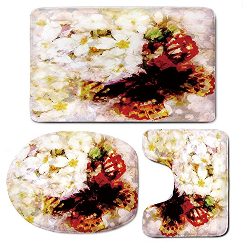 Paisley Butterfly Rug (3 Piece Bath Mat Rug Set,Paisley-Decor,Bathroom Non-Slip Floor Mat,Flower-Garden-with-Orchids-Roses-Jasmines-and-Butterflies-Abstract-Decor,Pedestal Rug + Lid Toilet Cover + Bath Mat,Multicolor)