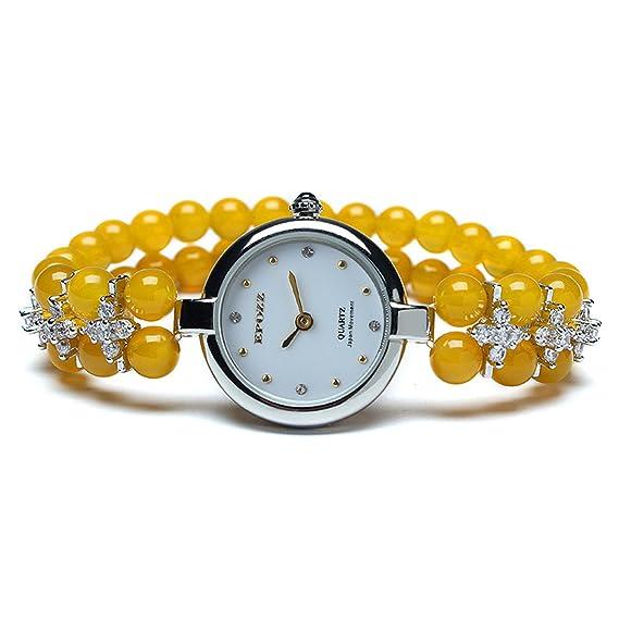 Epozz Ladies high-end Luxury Ágata Pulsera de reloj de pulsera reloj joyas pulsera muñeca