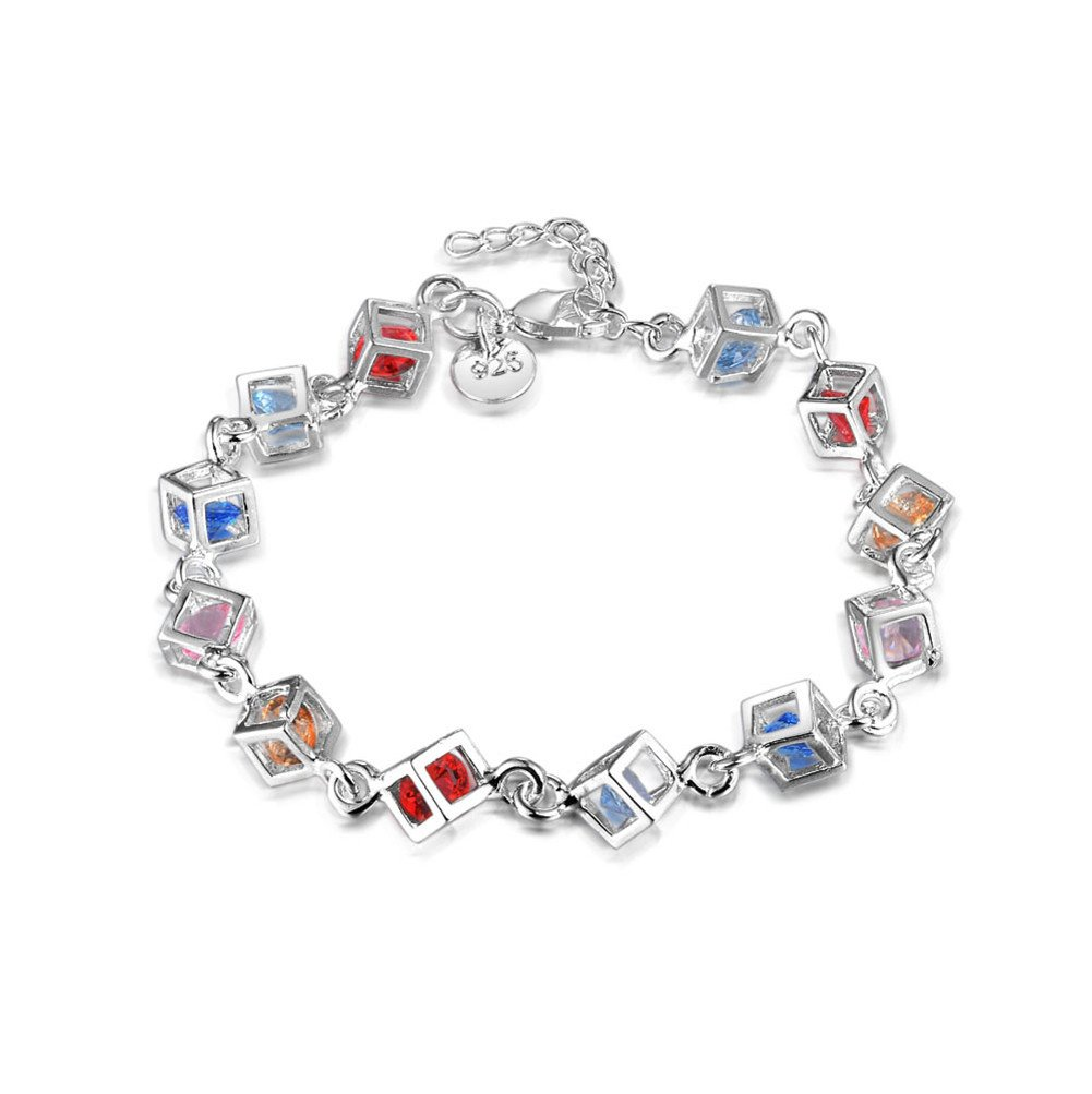 HMILYDYK New Fashion Jewelry 925 Sterling Silver Plated Beautiful Colorful Mosaic Crystal Bracelet Chain for Women Teen girls