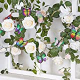 MACTING 6ft Artificial Flower Rose Garland Fake Hanging Rose, 5pcs Colorful Butterflies with Clips for Home Garden Decoration Hotel Office Wedding Party Indoor Outdoor Craft Art