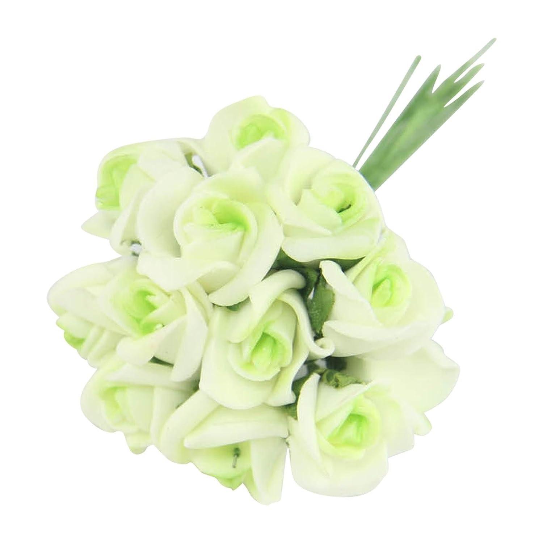 Bundles of 12 Mini Foam Rose Bunches! Bulk Wholesale Artificial Flowers Craft [Yellow, 1 Bunch] Meena Supplies