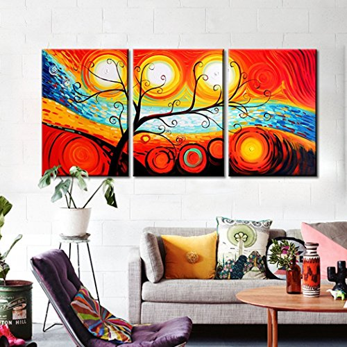 Fire Oil Painting - FLY SPRAY 3-Piece Hand Painted Orange Oil Paintings Canvas Wall Art Tree Fire Sun Circle Panel Stretched Framed Ready Hang Flower Landscape Tree Fire Modern Abstract Painting Living Room Home Decor