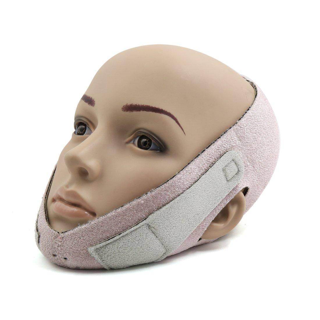 sourcing map Rosa traspirante Semimaschera facciale Bellezza Viso Modellante Guancia sollevamento nastro formatura