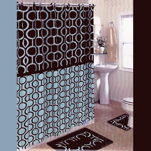 Amazon BROWN And BLUE 15 Piece Bathroom Set 2 Rugs Mats 1 Fabric Shower Curtain 12 Covered Rings Retro Beads Chain Pattern Home Kitchen