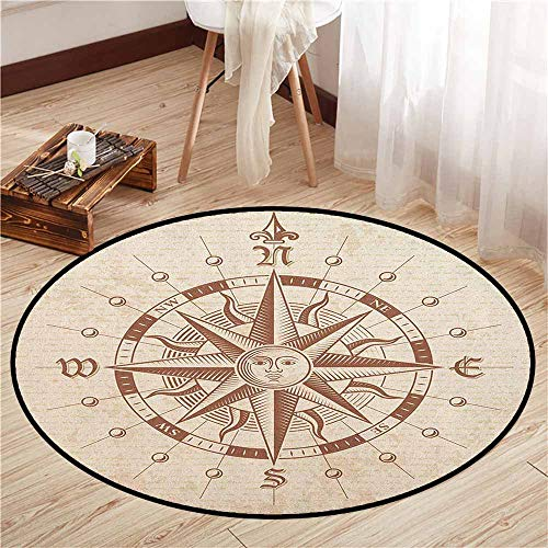 Indoor/Outdoor Round Rugs,Compass,Old Compass Rose A Sun Face Lady on It Instrument Distances Between Points Graphic,Rustic Home Decor,2'7