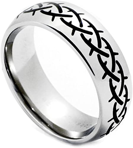 Ring Size 12.5 Cobalt 8mm Black Laser Woven Design Band Size 12.5
