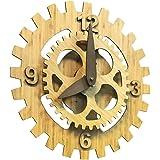 落ち着きのある竹目調の歯車モチーフにした壁掛時計!壁掛けバンブーギアクロック【EM-G150-A】
