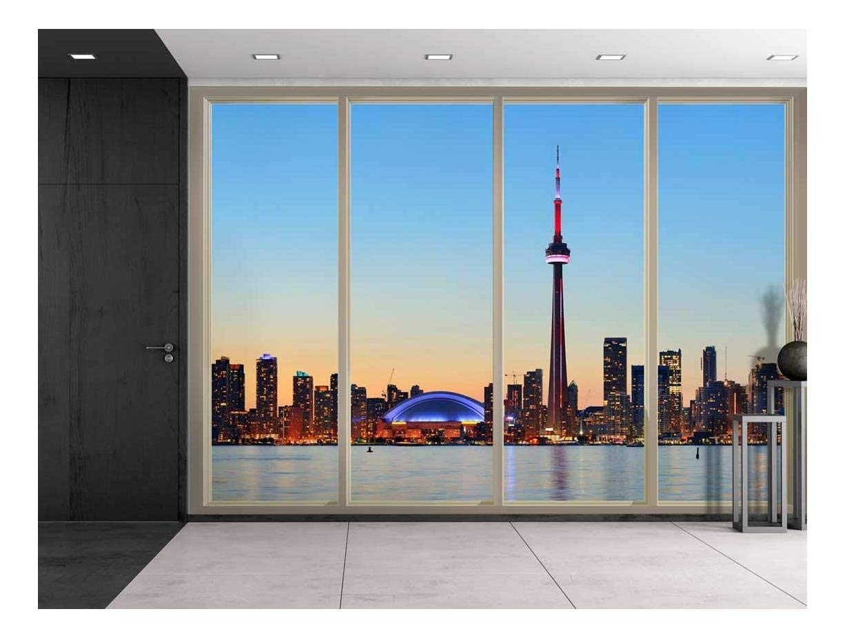 Large Wall Mural Cityscape At Night Seen Through Sliding Glass Doors