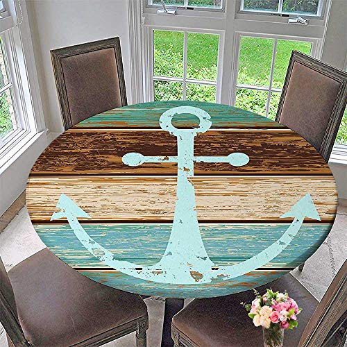 Round Tablecloth Anchor Rustic Wooden Planks Marine Maritime Sea Ocean Coastal Antiqued Aged Decor Digital for Kitchen 50