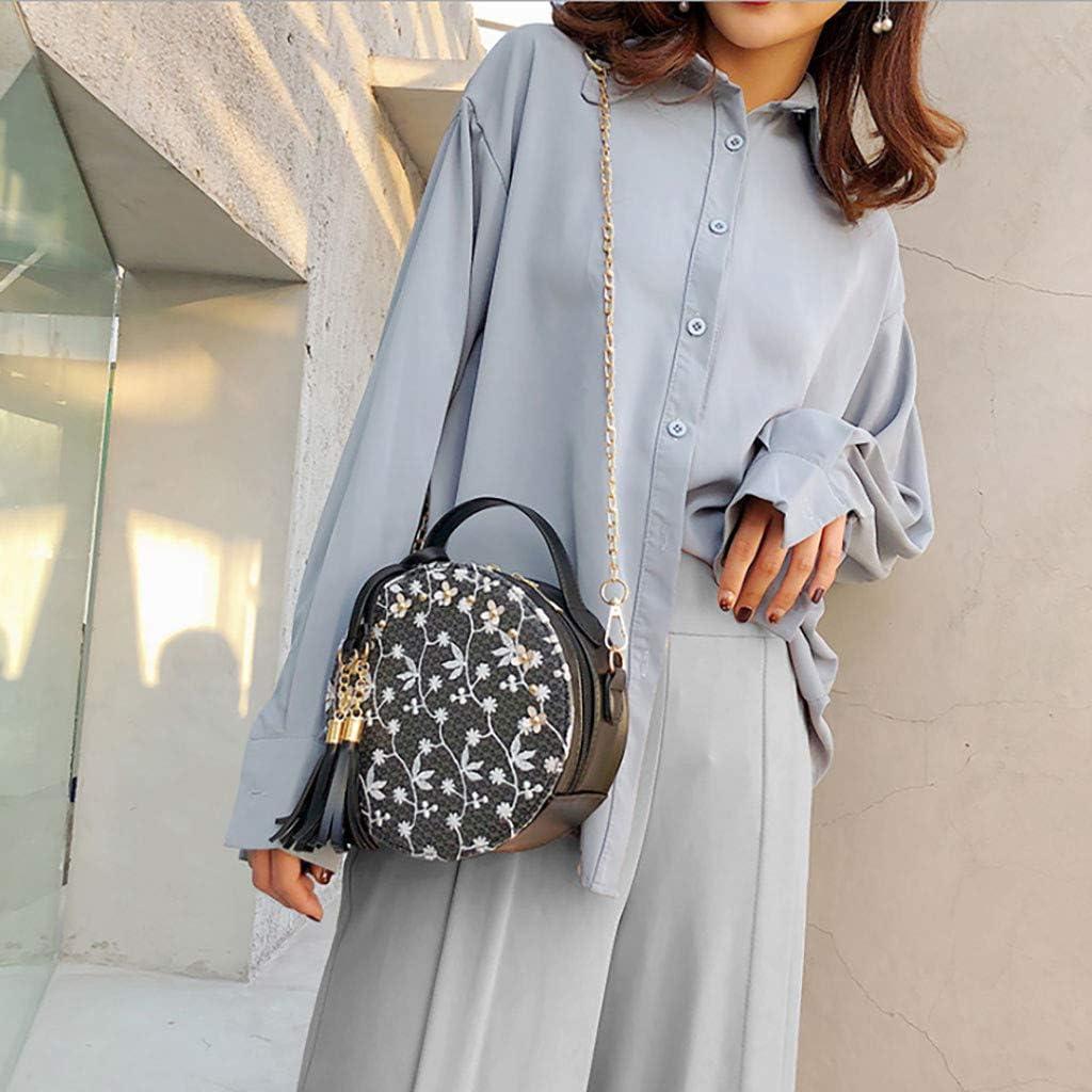 Sulifor fashion ladies couleur unie d/élicates broderie gland Messenger sac rond sac /à main sac femme sac /à bandouli/ère