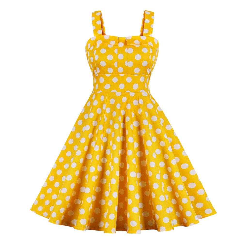 IEasⓄn Women Dress, Women Off Shoulder Sweet Fresh Sleeveless Camis A-Line Swing Dress Yellow