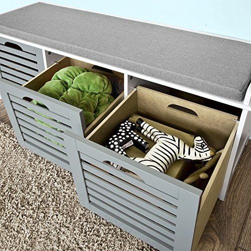 Cushioned Seating Storage Bench: Haotian FSR23-HG, Storage Bench With 3 Drawers & Padded