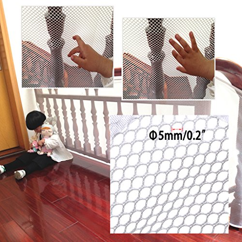Hipiwe Rail Net 10ft L x 2.5ft H Indoor Balcony and Stairway Railing Net, Durable Baby Toddlers Kids Pet Banister Stair Net Protector(3M) by Hipiwe (Image #1)