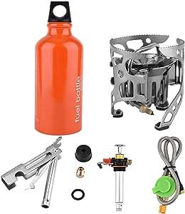 VGBEY Estufa de Combustible, Estufa de Cocina a Gas y Aceite Kit de Horno de combustión para fogatas para Picnic al Aire Libre Excursiones con Mochila ...