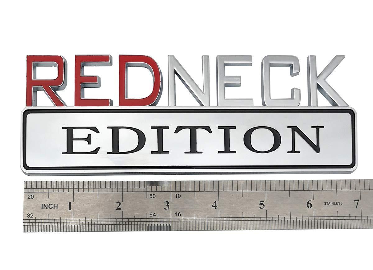 Yuauto 2Pc OEM Redneck Edition Car Emblem Chrome red Chrome Badge 3D Replacement for F-150 F250 F350 Silverado RAM 1500