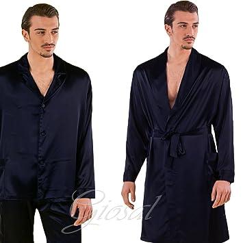Pijama Hombre Efecto Seda botones Bata Pierre Cardin 2 Capi Azul Tinta Unita GIOSAL, Hombre