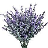 Gtidea 4pcs Artificial Flocked Lavender Bouquet in Purple Flowers Arrangements Bridal Home DIY Floor Garden Office Wedding Decor