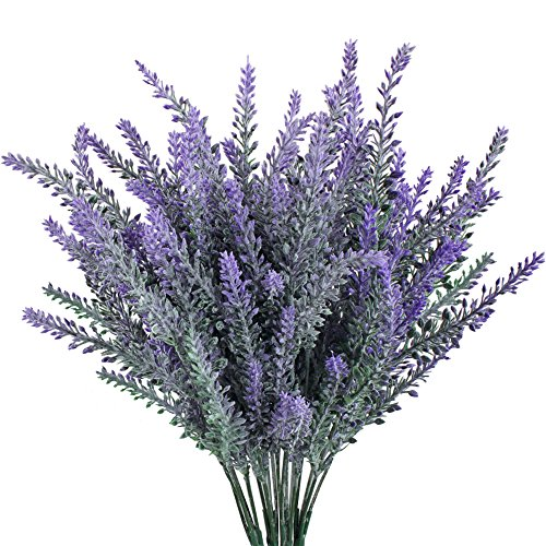 Gtidea 4pcs Artificial Flocked Lavender Bouquet in Purple Flowers Arrangements Bridal Home DIY Floor Garden Office Wedding Decor