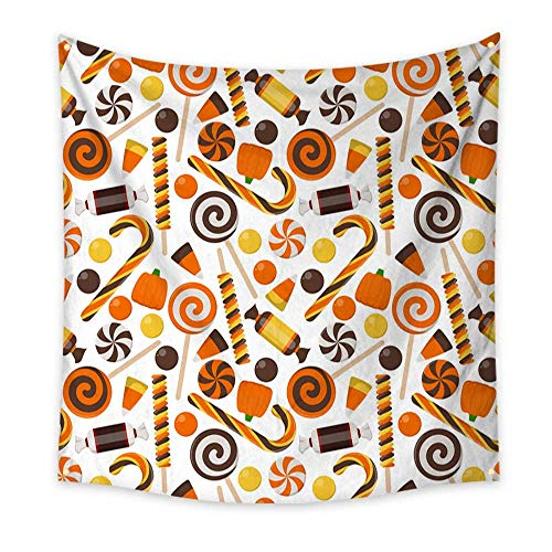 BlountDecor Decorative Tapestry Halloween Candy Seamless Pattern 55W x 55L Inch