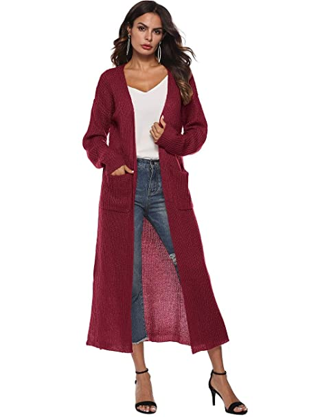 a0435b340cc186 Women's Long Sleeve Open Front Split Knit Sweater Lightweight Thin Long  Maxi Cardigan Drape Caps Pockets