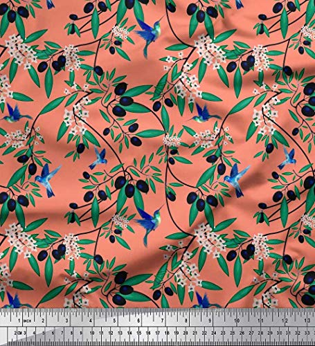 (Soimoi Orange Rayon Fabric Leaves,Floral & Black Berries Fruits Print Fabric by The Yard 56 Inch Wide)
