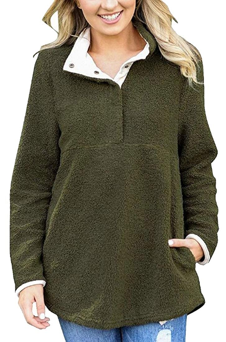 WSPLYSPJY Womens Warm Fleece Fuzzy Loose Sweatshirt Pullover Coat with Pocket