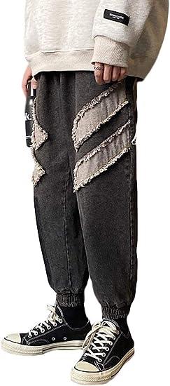 [Bestmood]ジョガーパンツ メンズ デニム ゆったり ジーンズ 九分丈 ダメージ加工 ファッション デニムパンツ ストレッチ カジュアル ロングパンツ ストリート ジーパン 大きいサイズ 秋 冬