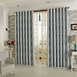 Blue 1Panel Curtains for Bedroom? - KoTing Blackout Geometric Window Curtains and Drapes Grommet 100 inch Wide