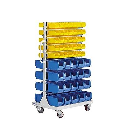 Euro de estante móvil con cajas de almacenamiento - de doble cara, tamaño 1450 x