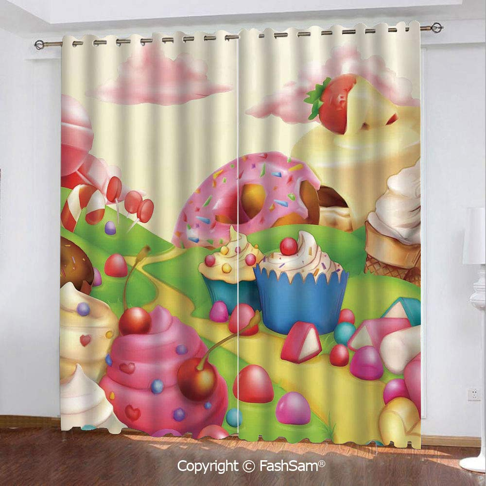 Thermal Insulated Blackout Curtains Yummy Donuts Sweet Land Cupcakes Ice Cream Cotton Candy Clouds Kids Nursery Design Window Curtains for Living Room(84''X84'') by HongKong Fudan Investment Co., Limited