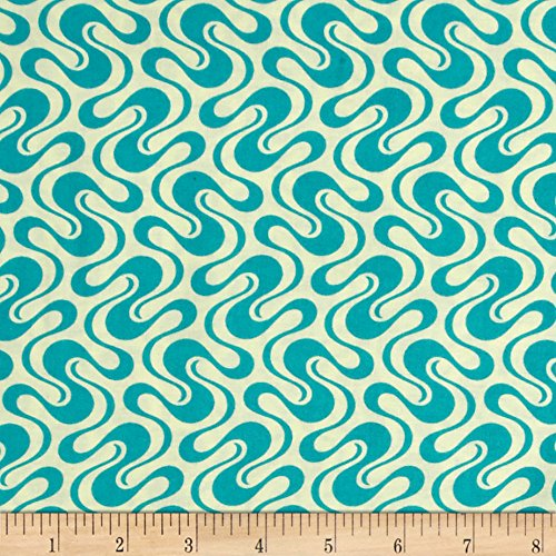 Free Spirit Fabrics Heather Bailey Hello Love Twist & Shout Blue Fabric by The Yard