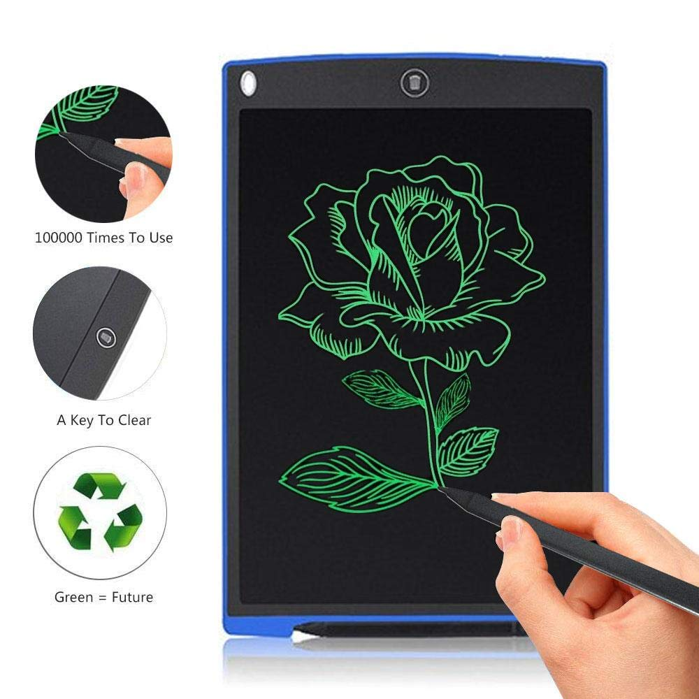 Teepao LCD Writing Tablet 8.5'' Electronic Handwriting Drawing Board with Pen Ultra Thin Lightweight Writing Doodle Pad Portable for Kids Children School Adults Office (12'', Blue)