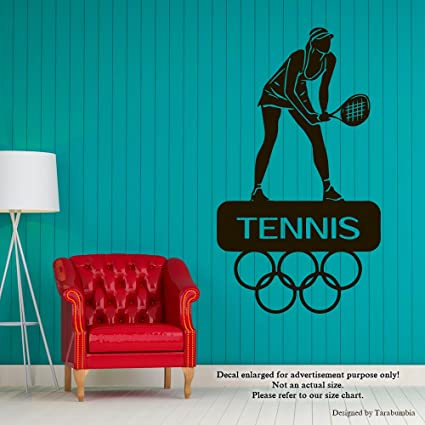 Amazon Com Sport Tennis Wall Decals Olympic Games Stickers Decorative Design Ideas For Your Home Or Office Walls Removable Vinyl Murals Ec 1181 Arts Crafts Sewing