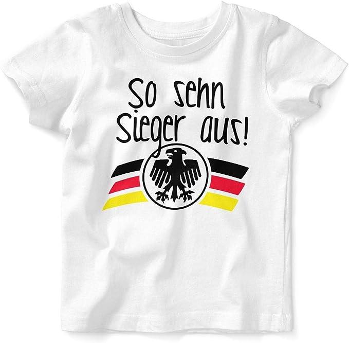 Mikalino Baby//Kinder T-Shirt mit Spruch f/ür Jungen M/ädchen Unisex Kurzarm So sehn Sieger aus BRD Handmade with Love handbedruckt in Deutschland