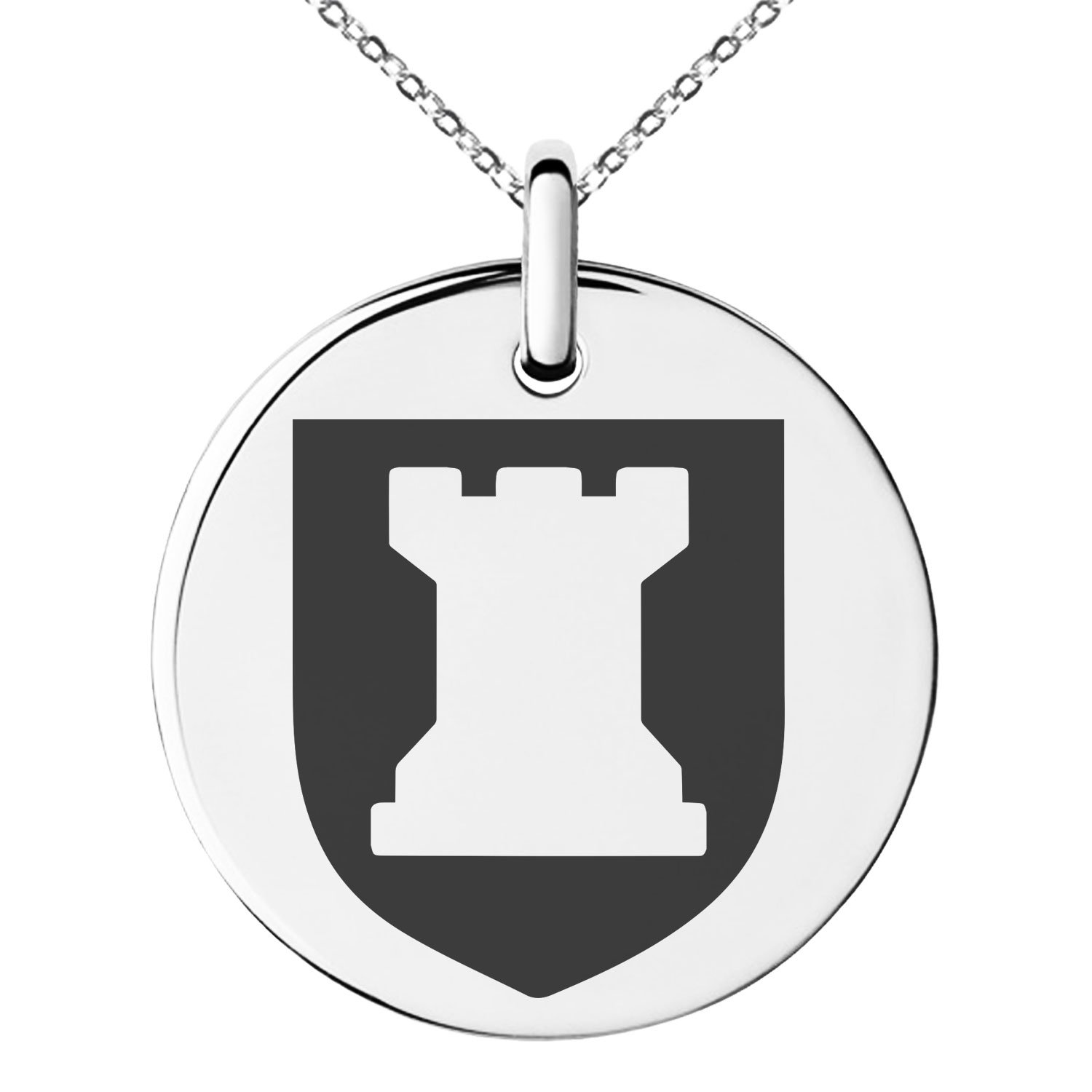 Tioneer Stainless Steel Rook Strategy Coat of Arms Shield Symbol Engraved Small Medallion Circle Charm Pendant Necklace
