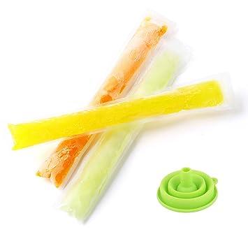 sakuyv Zip-top hielo Pop fundas con silicona plegable embudo Popsicle Moldes DIY Ice Pop