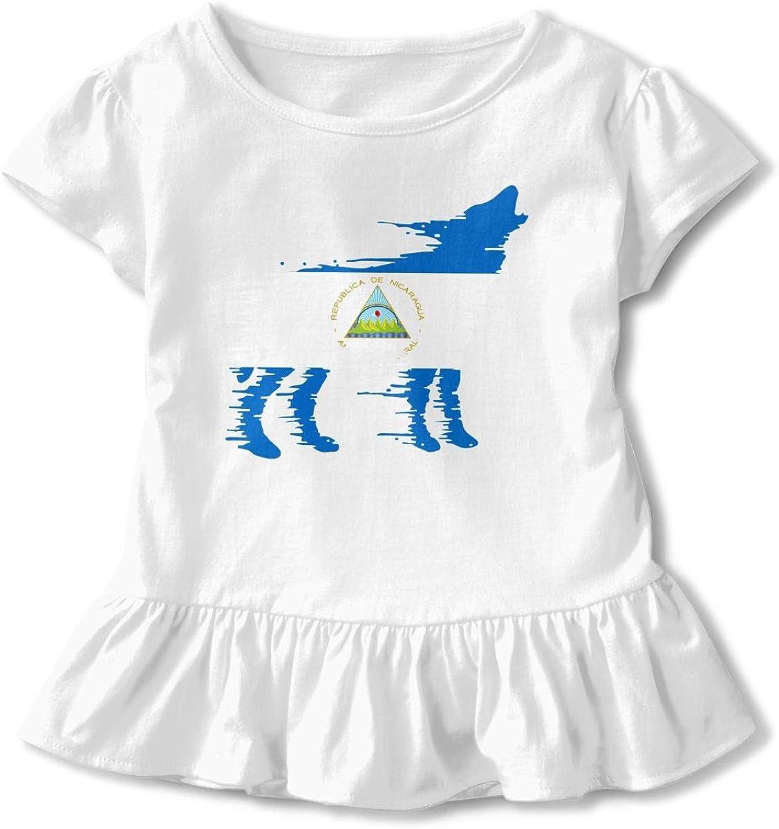 Nicaragua Flag Wolf Little Girls Short Sleeve Cotton Tee Tops