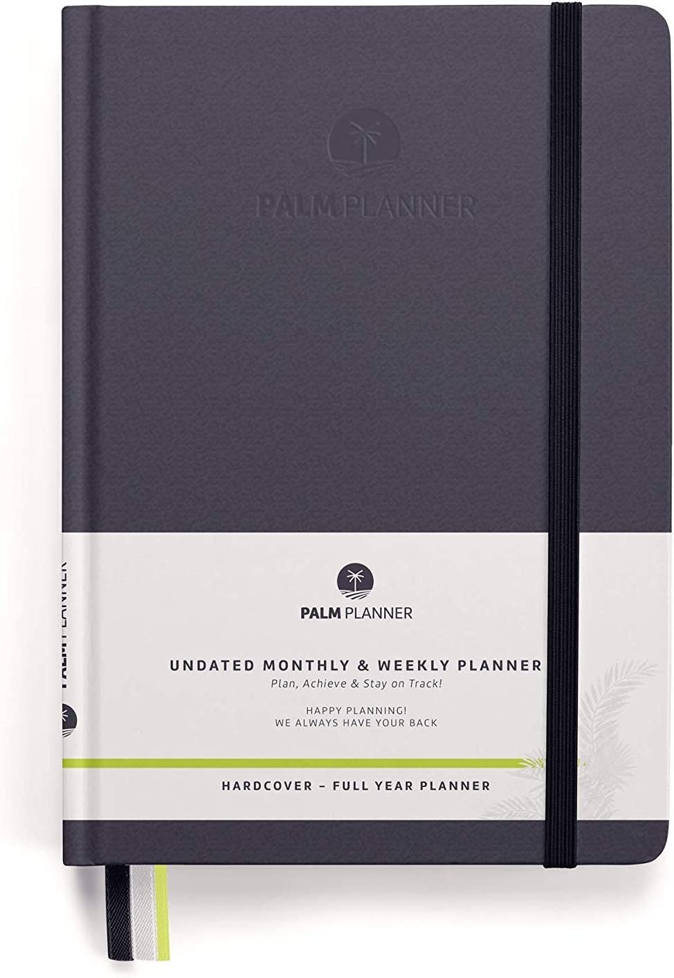 Palm PlannerUndated Monthly and Weekly Agenda To Achieve Goals and Happiness, Vision Board, Smart Goals and a Plan To Boost Productivity in 2019/2020 Full Year (Hardcover,Gray)