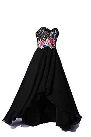 Long Formal Dresses For Women Evening Flowers Lace Beaded Prom Homecoming Dress, Color Black,