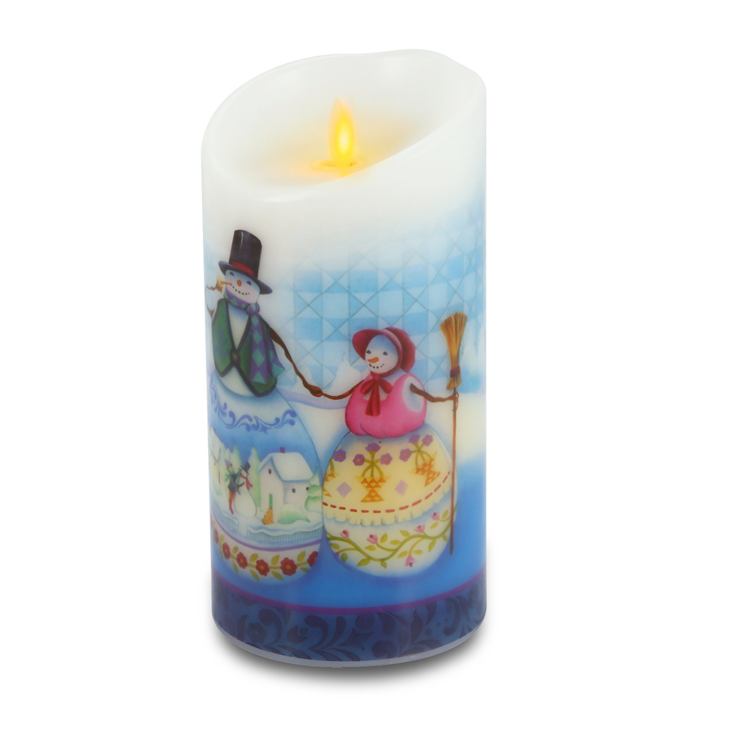 Ksperway Flameless Wax Candles, Moving Wick LED Pillar Candle with Blow ON/Off Control,Timer and Remote 3.5 by 7 Inch Picture (Snow Man) by Ksperway (Image #4)