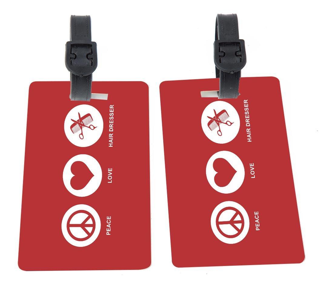 Peace Love Hair Dresser Red Color Design Plastic Flexi Luggage Identifier Tags + Strap Closure