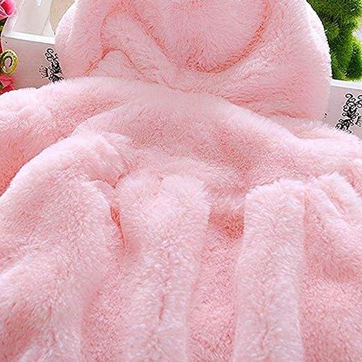 ZYCX123 Baby-Winter-Warmer Mantel Rabbit Ears verdickte Pl/üsch-Jacken-Mantel Hoodies Oberbekleidung f/ür 0-9 Monate M/ädchen Pink